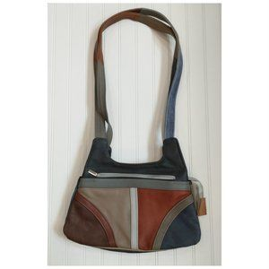 Vtg 80's Multi-Color Leather Shoulder Bag Purse